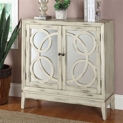 white mirrored front accent cabinet  coaster furniture