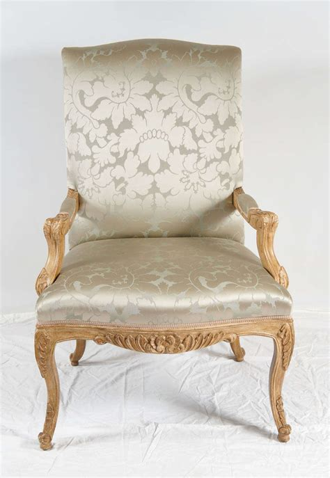 louis xiv style chair silk damask upholstery for sale at