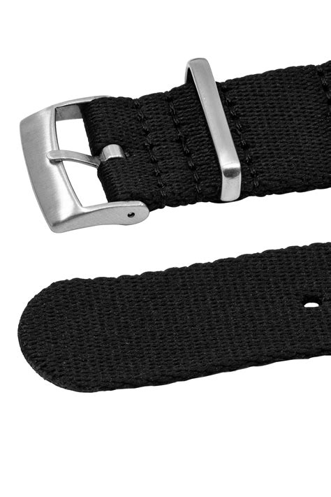 Premium NATO Watch Strap in SOLID BLACK with Brushed