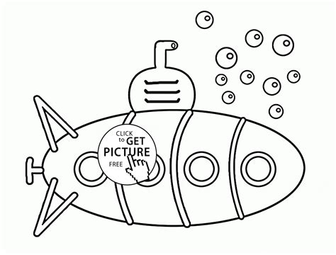Funny Submarine And Bubbles Coloring Page For Kids