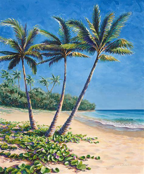 Tropical Paradise Landscape  Hawaii Beach And Palms