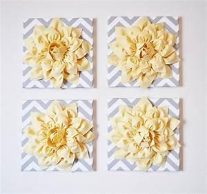 Wall decor set of four light yellow dahlias on gray and white