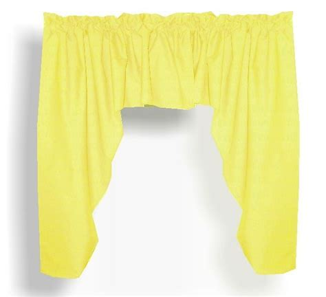 Solid Bright Lemon Yellow Colored Swag Window Valance