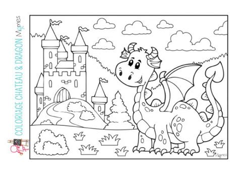 coloriage chateau  dragon momesnet