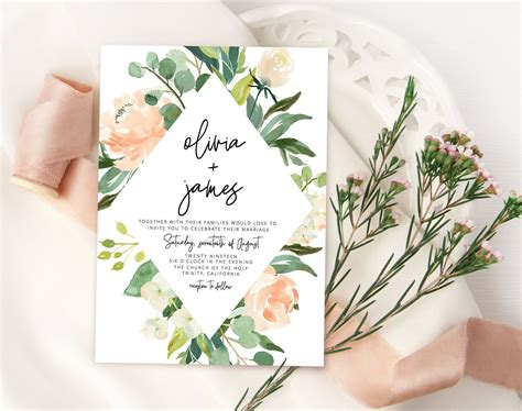 Rustic wedding Invitation suite with blush flowers and