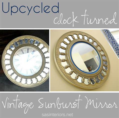 Round Beveled Mirror by Upcycled Clock Turned Vintage Sunburst Mirror Jenna Burger