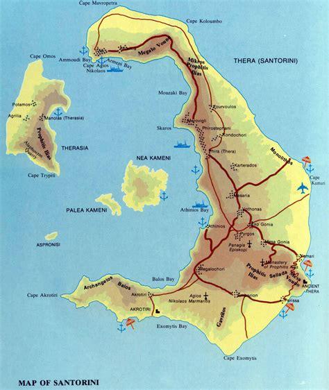 stadtplan von santorin detaillierte gedruckte karten von