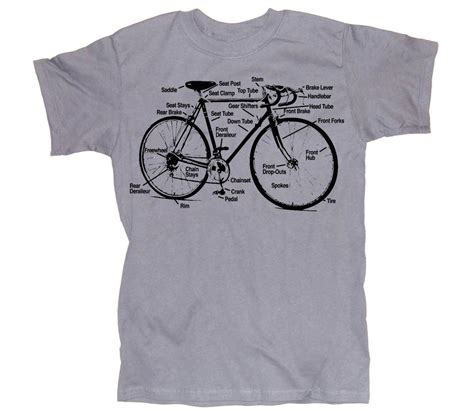 Mens Bicycle T Shirt Diagram S M L Xl Xxl Silver Gray