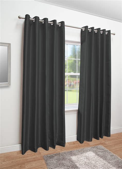black faux silk eyelet fully lined curtains