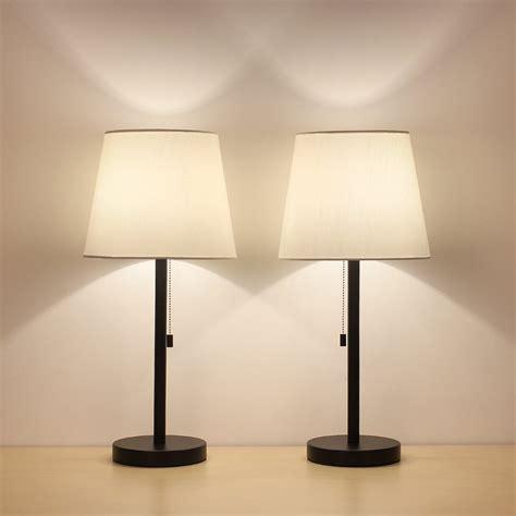 haitral bedside table lamps set   black  white