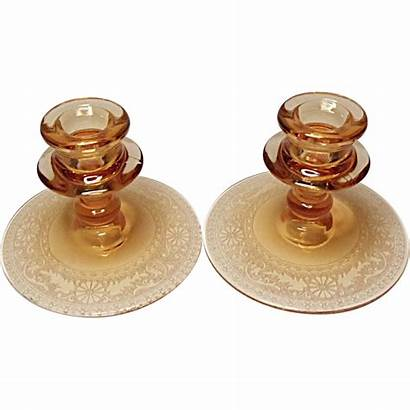Candle Etched Fostoria Glass Holders Single Amber