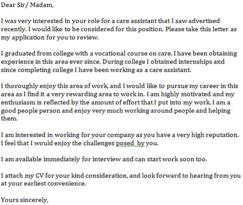 care assistant cover letter  learnistorg