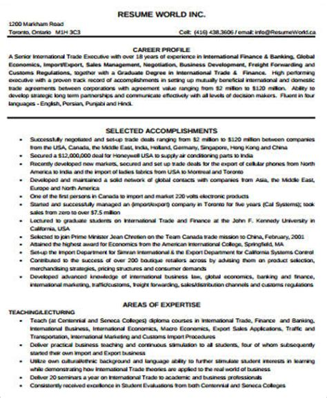 sle finance resume 11 exles in word pdf