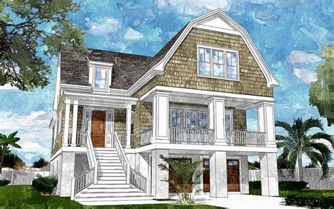Gambrel-roofed Shingle Style House Plan