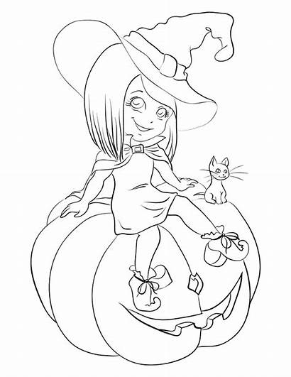 Coloring Halloween Witch Pages Cat Pumpkin Printable