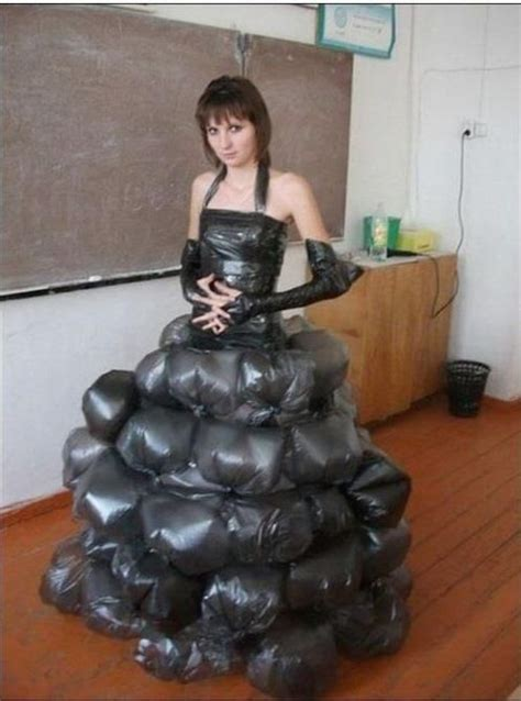dress   garbage bags recycled dress worst