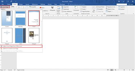 how to create a cover page in microsoft word 2016