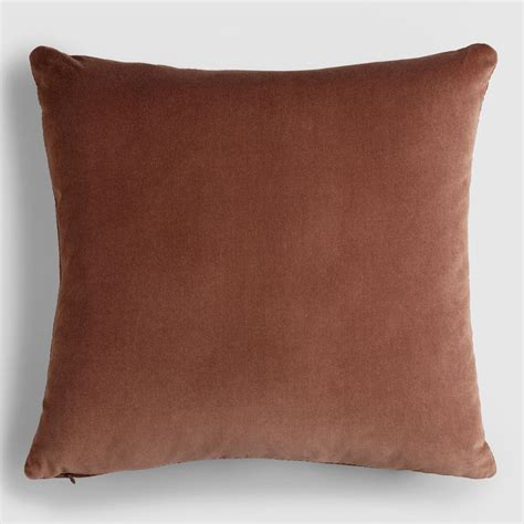brown decorative pillows chocolate brown velvet throw pillow world market