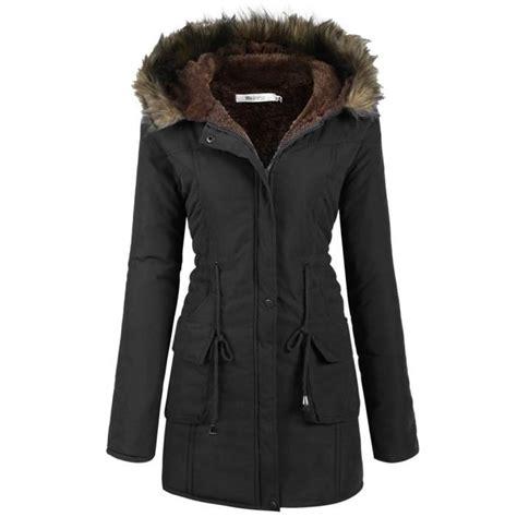 veste cuisine pas cher manteau polaire femme doublé parka chaud hiver drawstring