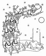 Santa Coloring Pages Reindeer Claus Christmas Sheets Town Coming Sleigh Drawing Books Printable Colouring Clause Drawings Santas Activity Adult Sky sketch template