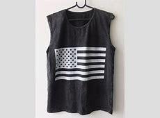 Usa American Flag Punk Rock Goth Stone Wash Vest Tank Top