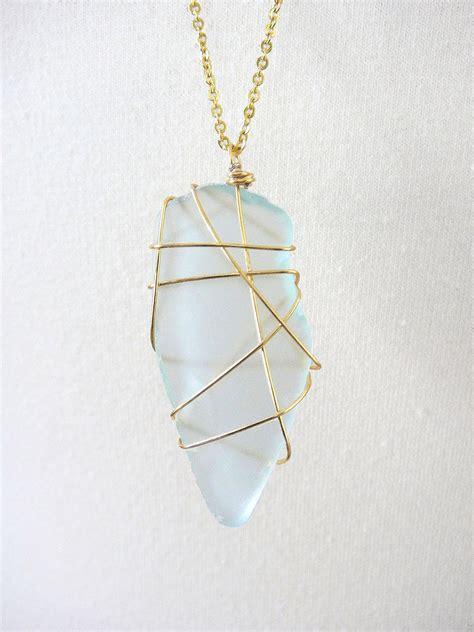 pendant light 14k gold wire wrapped glass pendant light blue