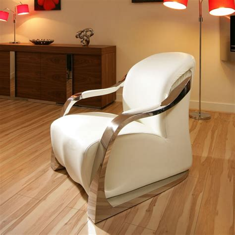 White Living Room Arm Chairs by Amazing Modern White Leather Stainless Armchair Armchairs