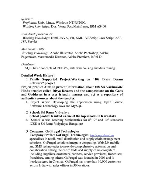Java Profile Resume by Java Profile Resume 100 Images Goals In Resume Exle