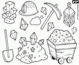 Mining Coloring Pages Gold Rush Tools Panning Colouring Miners Crafts Street Miner Mine Cartoon Theme Equipment Western sketch template