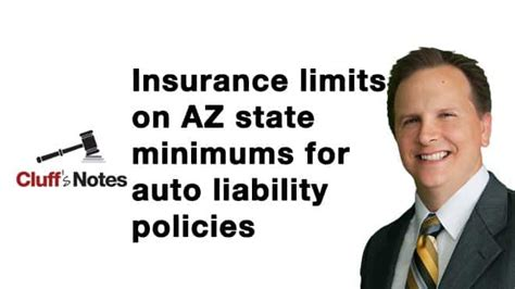 Liability insurance is broken down into three amounts: Limits on AZ state minimums for auto liability policies