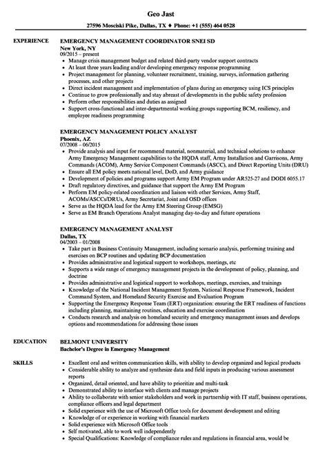 emergency management resume sles velvet