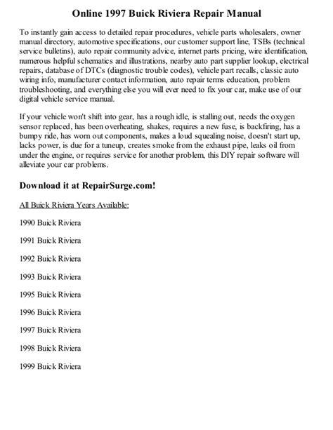 online auto repair manual 1985 buick riviera free book repair manuals 1997 buick riviera repair manual online