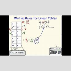 Writing Equations For Linear Tables (algebra Version) Youtube