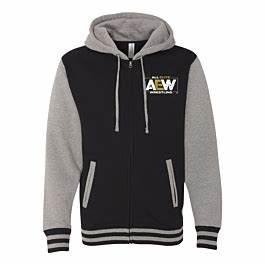 Aew Logo Premium Varsity Zip Hoodiev