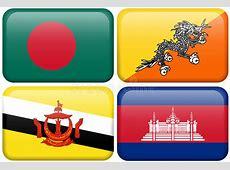 Asian Flag Buttons Bangladesh, Bhutan, Brunei Dar Stock
