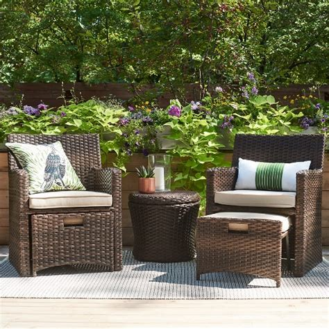 Small Garden Furniture by Save 100 Halsted 5 Wicker Small Space Patio