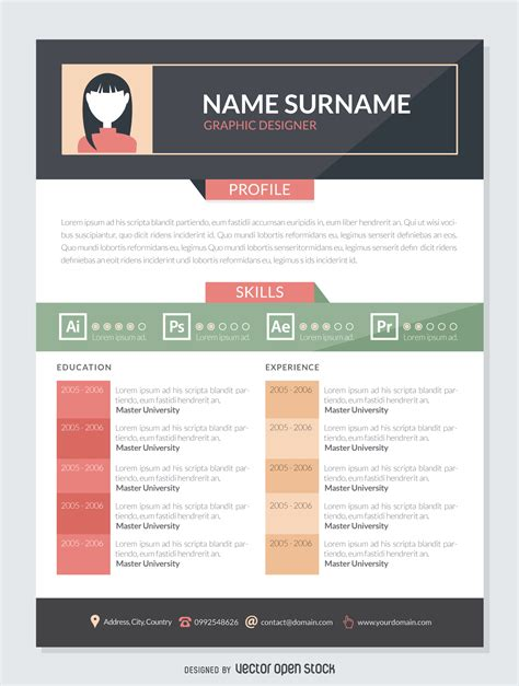 graphic designer resume mockup template vector