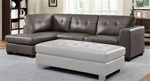 Modern grey fabric ttufted sectional sofa with chaise for Metropolitan sectional sofa chaise