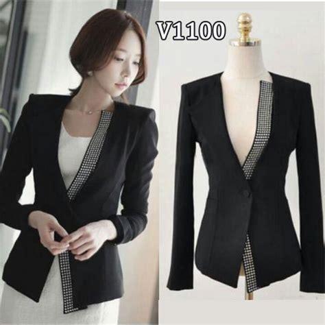 connexion blazer wanita hitam blazer wanita kerja v1100 metalik model terbaru modis