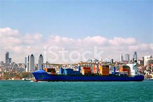 Cargo Ship on Front of Istanbul City stock photos ...