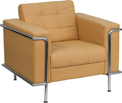 contemporary light brown leather chair with stainless