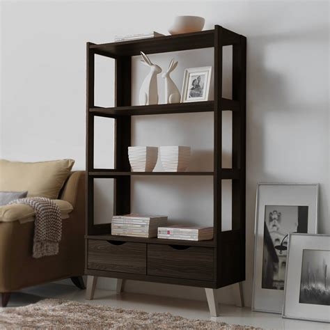 Leaning Bookcase With Drawers by Baxton Studio Kalien Leaning Bookcase With 2 Drawers