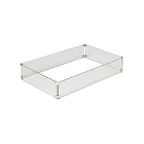 """Fire pit wind guards are used to prevent the flame in a fire pit from blowing around excessively and potentially causing damage. HPC Rectangle Fire Pit Glass Wind Guard, 43"""" x 21 ..."""