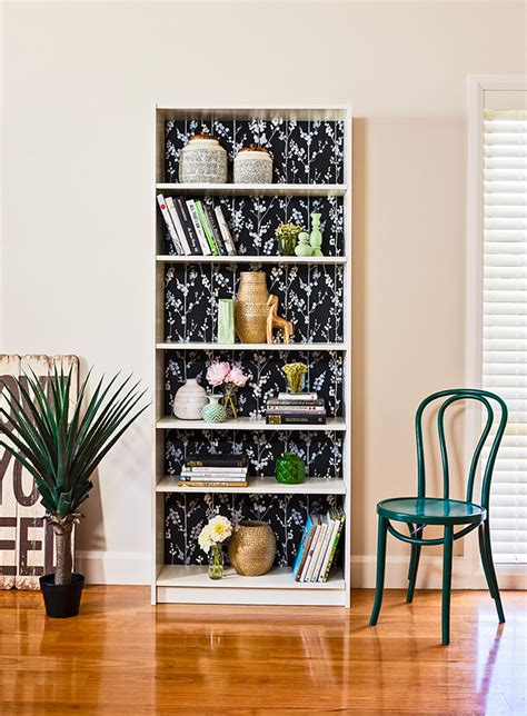 revamp  bookcase  wallpaper diy gardening