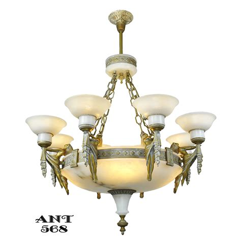 deco grand alabaster bowl chandelier antique eight