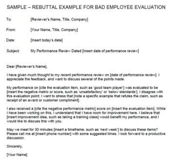 letter of rebuttal template rebuttal exle for bad employee evaluation lovetoknow