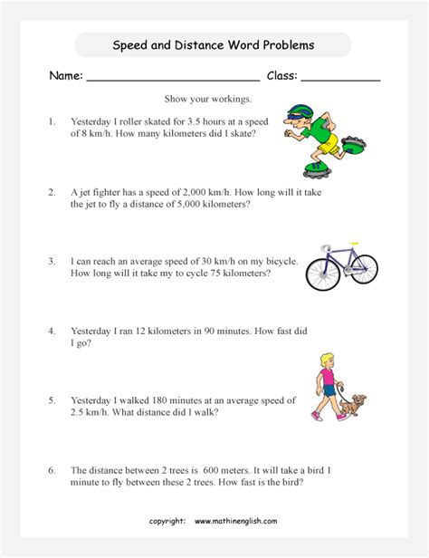Speed Time Distance Worksheet Worksheets For All  Download And Share Worksheets  Free On