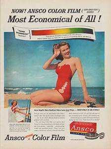 """1950 Ansco Color Film Ad """"Most Economical of All!"""""""