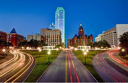 Dallas Downtown Night Texas Cities Cliff Buildings