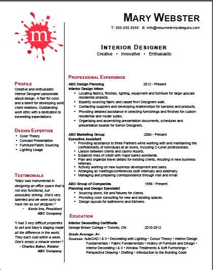 cv interior designer template interior designer resume template professional stuff